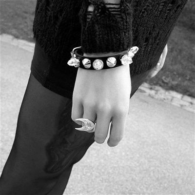 Crystal studded bracelet. Feminine and edgy.
