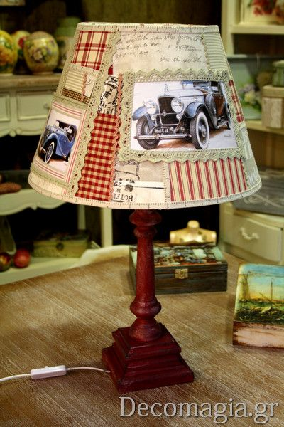 Bedside lamp with decoupage
