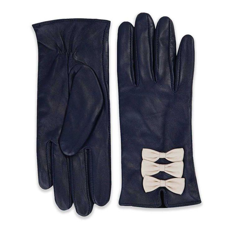 Beau leren handschoenen met creme kleurige strikjes marine blauw - Vintage…