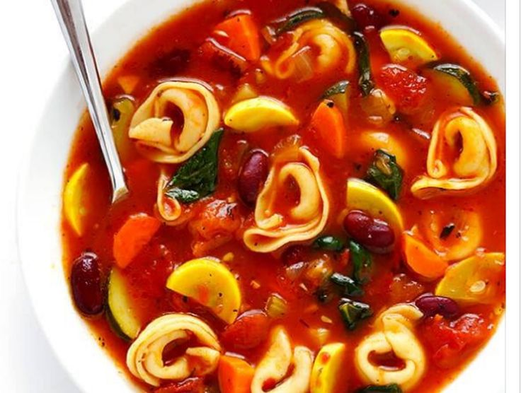Recette : Soupe Minestrone et tortellinis.