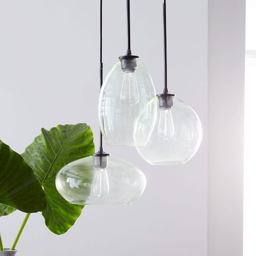 west elm glass Triplet Chandelier, adjustable height lighting for our kitchen?