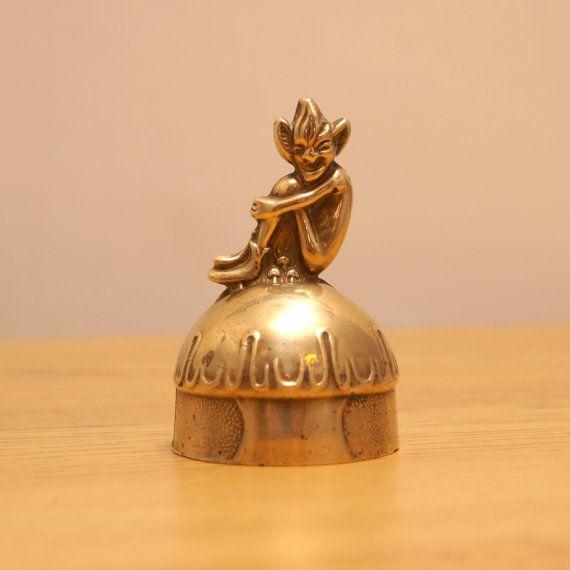 Vintage brass large desk bell vintage solid brass by UKAmobile