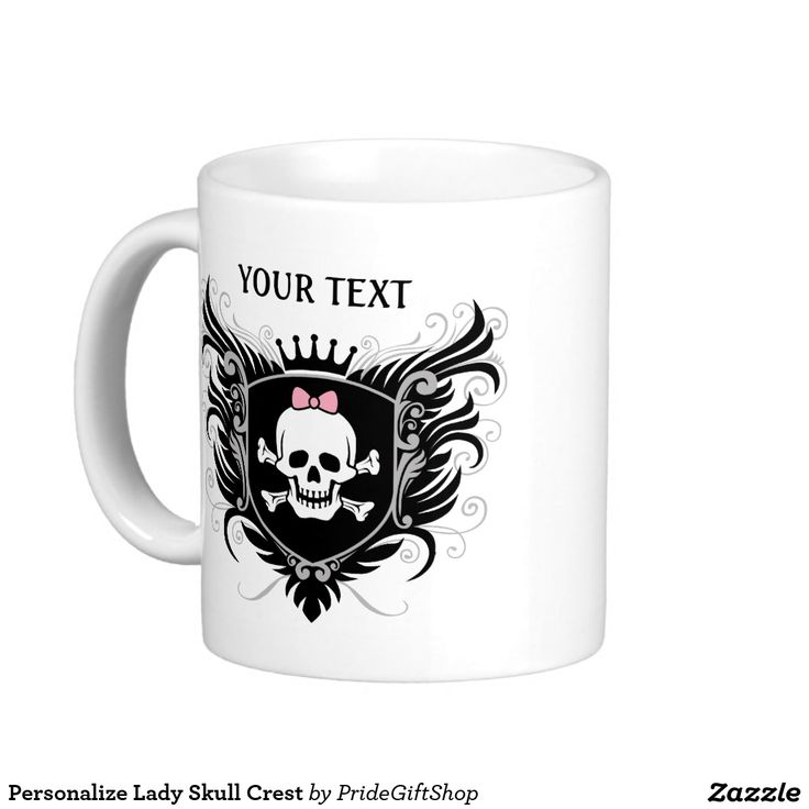 Personalize Lady #Skull Crest Classic White #Coffee #Mug