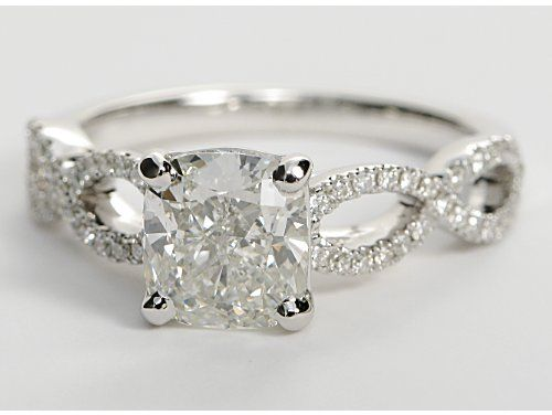 1.72 ct. Cushion-Cut J-Color, VS1-Clarity, Very Good-Cut  shown with Infinity Twist Micropavé Diamond Engagement Ring in 14K White Gold