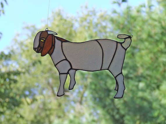 Vitrail chèvre, décoration intérieure Unique, tendance de la chèvre Boer