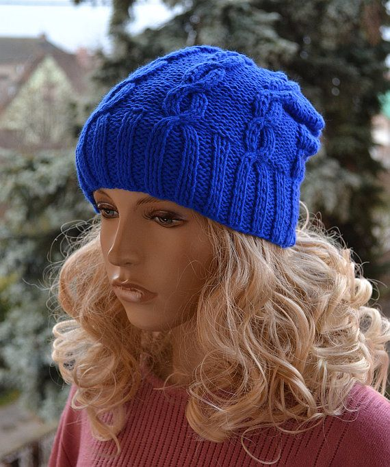 Sapphire beani cap  hat Knitted Slouchy cable style by DosiakStyle