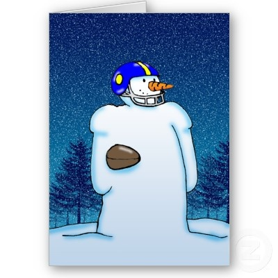 Fullback :-  Get ready for the cold shoulder as snowman barges  If ten more snowmen arrive we've got a team! Snowman stands padded up and ready for action with the ball under his arm. If the snow stops falling he may even be able to see as far as the endzone! #football #fullback #winter #holiday #holidays #padded #padding #americanfootball  #snowfall #night #dark #cold #frosty #ice #icy #snow #snowman #christmas #xmas #festive #seasonal #yuletide #tree #carrot #sport #sports