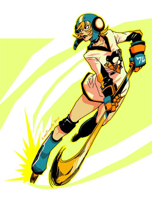 Jet Set Radio Future's Gum playing some roller hockey in a Pittsburgh Penguins jersey. Drawn as a small gift for a JSR & Penguins fan!