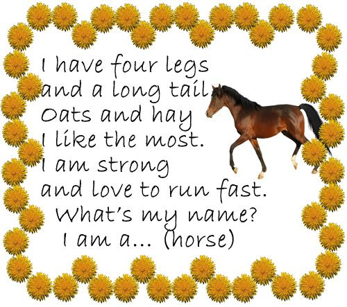Стишок-загадка про лошадь (horse)