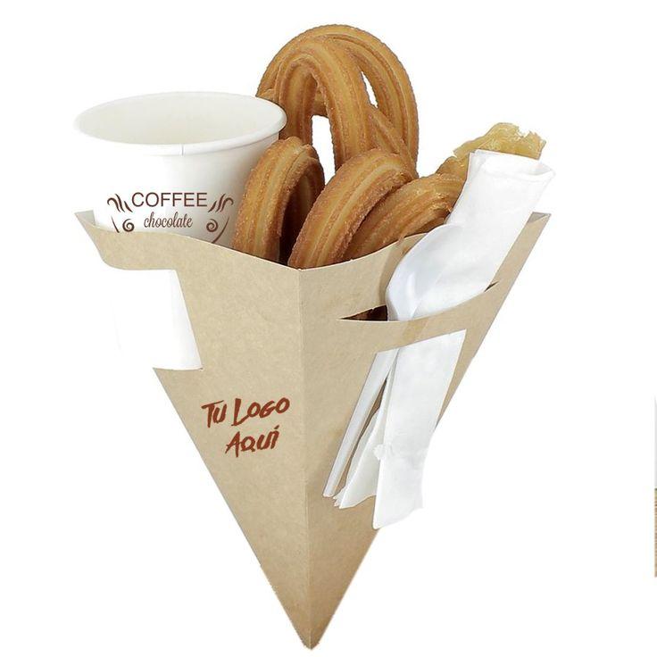 Cucurucho de cartón con precortes laterales perfecto para llevarlo todo en una mano, churros, bebida,cubiertos y servilleta. Producto personalizable, ¡consúltanos!