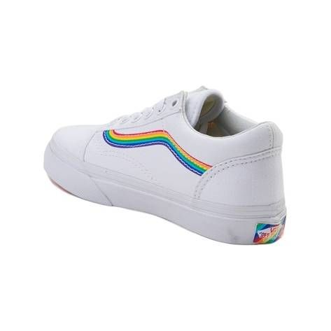 4d3115432c137d Youth Vans Old Skool Rainbow Skate Shoe with rainbow sole - white - 1498266