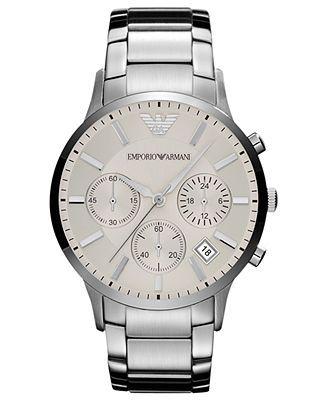 Emporio Armani Watch, Men's Chronograph Stainless Steel Bracelet 43mm AR2458