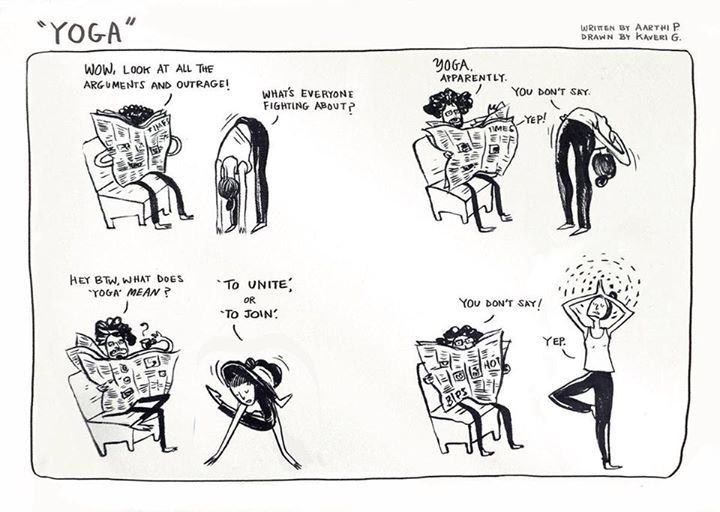 Our very talented Friends created this brilliant comic that describes the latest discourse on Yoga.