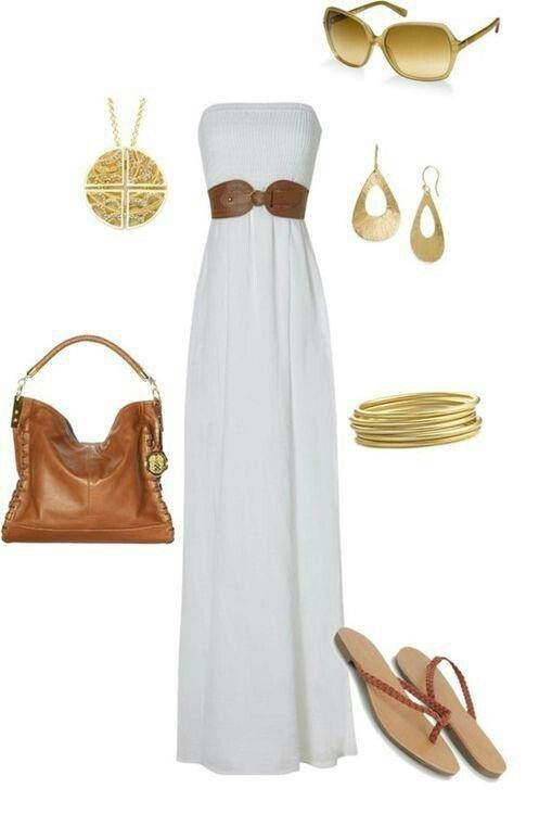 Long white summer dress- wish I could find more of these dresses made for taller girls.