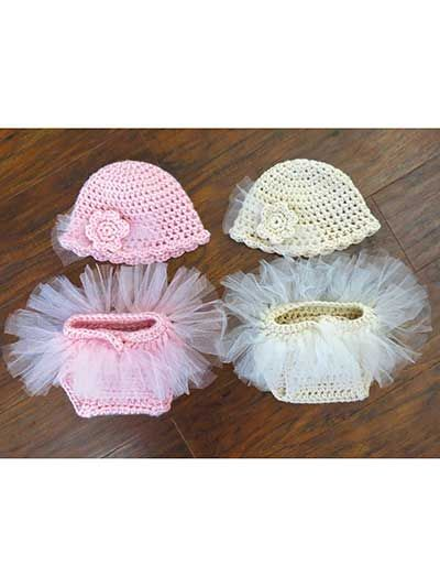 """This diaper set is """"tutu"""" cute! Made holding 2 stands together of approximately 250--300 yds of worsted-weight yarn for a cute, bulky look. Once the diaper cover is made, written instructions along with photos are given on how to cut and attach the strips of tulle. Sizes: NB: hat: 12""""W x 5""""H, diaper cover waist: 9"""" to 12"""" with a 5 1/3"""" rise; 0-3 mos: hat: 14""""W x 5 1/2""""H, diaper cover waist: 9"""" to 13"""" with a 6"""" rise."""