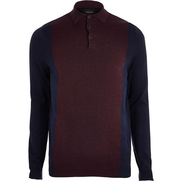 River Island Purple knit colour block polo shirt ($35) ❤ liked on Polyvore featuring men's fashion, men's clothing, men's shirts, men's polos, mens color block shirt, mens button down shirts, mens long sleeve shirts, mens purple long sleeve shirt and mens purple button down shirt