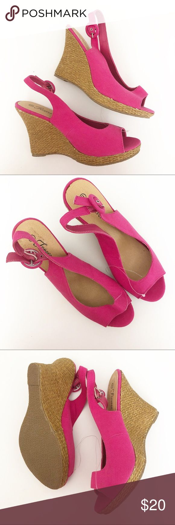 """Pink wedge shoes 9 forever sandals Brand new pink wedge shoes size 9. Brand is """"Forever"""" not forever 21. Cute for spring and summer! Shoes Wedges"""