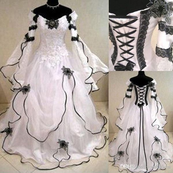 V-neck cathedral cathedral train designer 2 in 1 open back empire modest country wedding dresses china 12y white black 2017 bridal gown