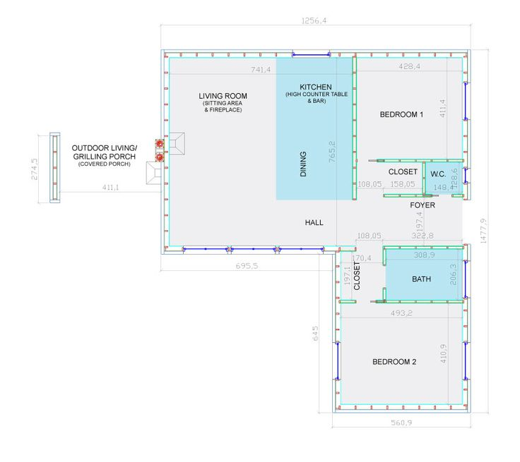 Vesa House Plan with 2 bedrooms, bathroom, kitchen with high counter table and outdoor living with grilling porch.