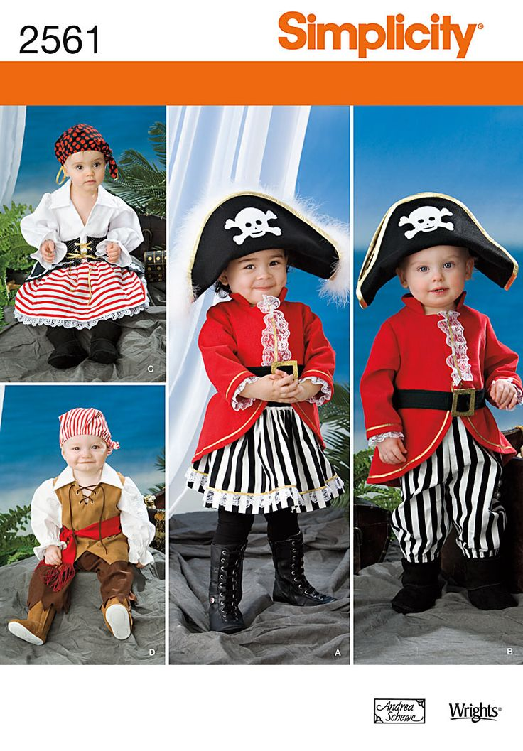 2561Toddler Costumes Toddler pirate costumes - hat, jacket, skirt, belt and pants sewing patterns