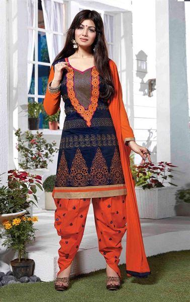 Magnificent Blue and Orange Patiala Salwar kameez