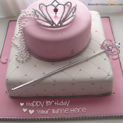 Write Name On Birthday Cake for Girl Princess