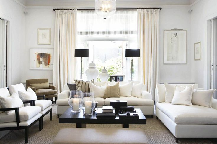White living room white sofas with neutral pillows love for Black and neutral living room