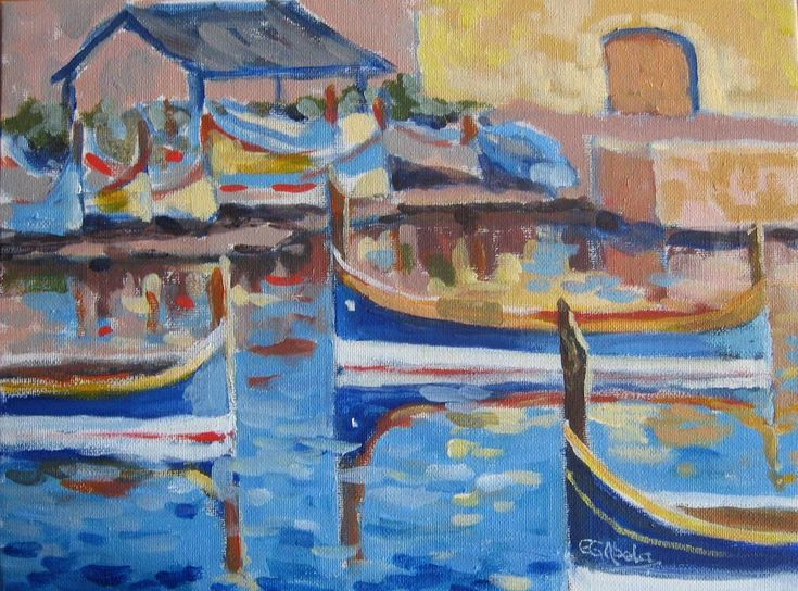 Maltese Boats I painted over the years, since sold.