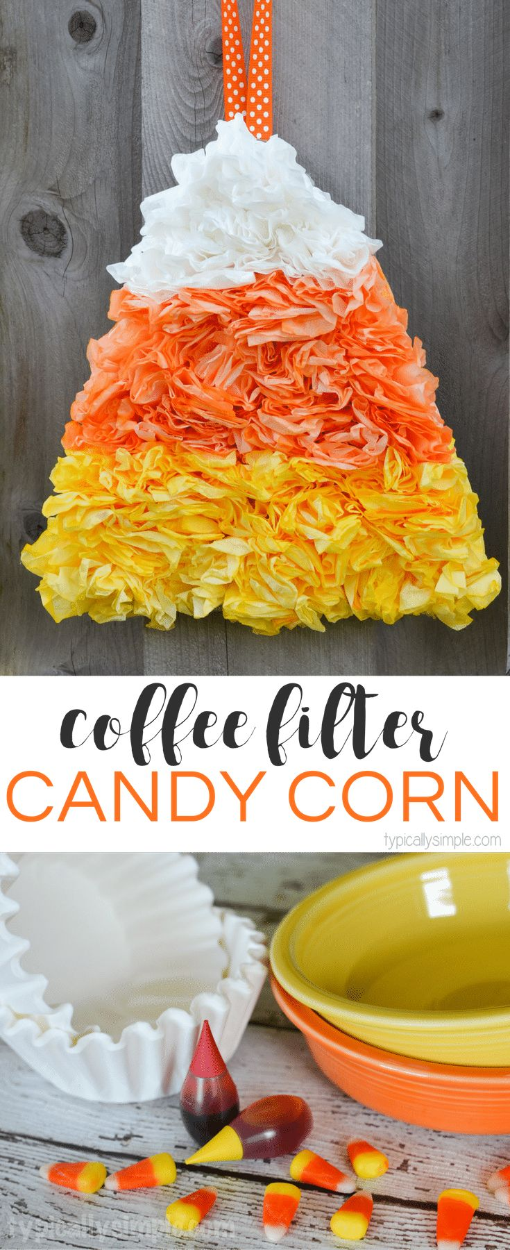 Using dyed coffee filters, this candy corn project makes a fun door hanging for Halloween!