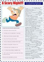 English worksheet: A SCARY NIGHT - MIXED TENSES
