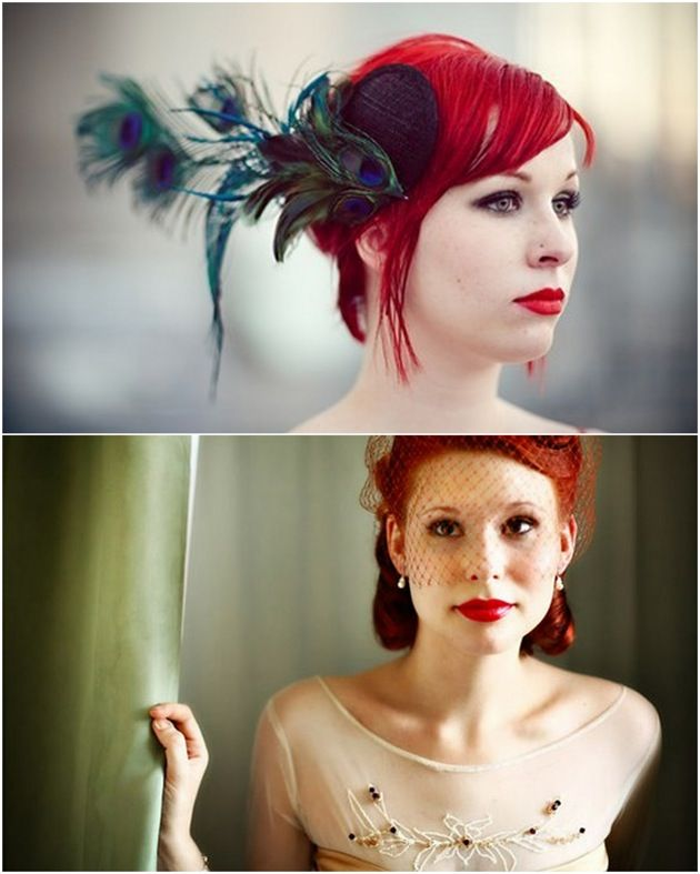 The below image with the birdcage veil and hair half pinned up - so cute