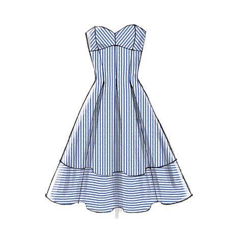 M6956- strapless misses dress (cut on crosswise grain ...