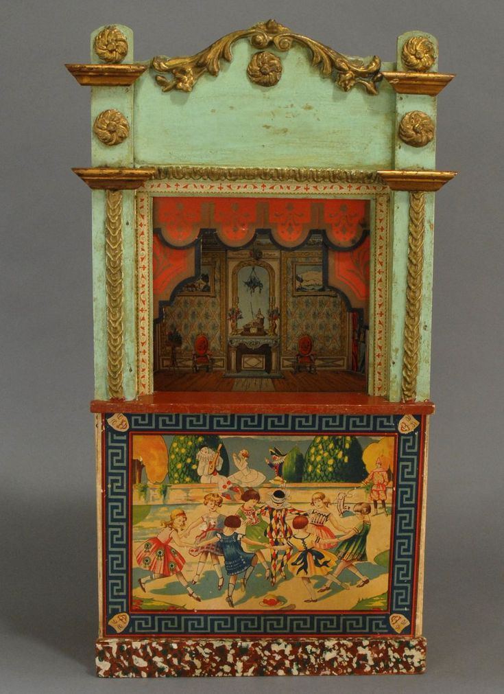 Small French Wooden Guignol Puppet Theater Image Via