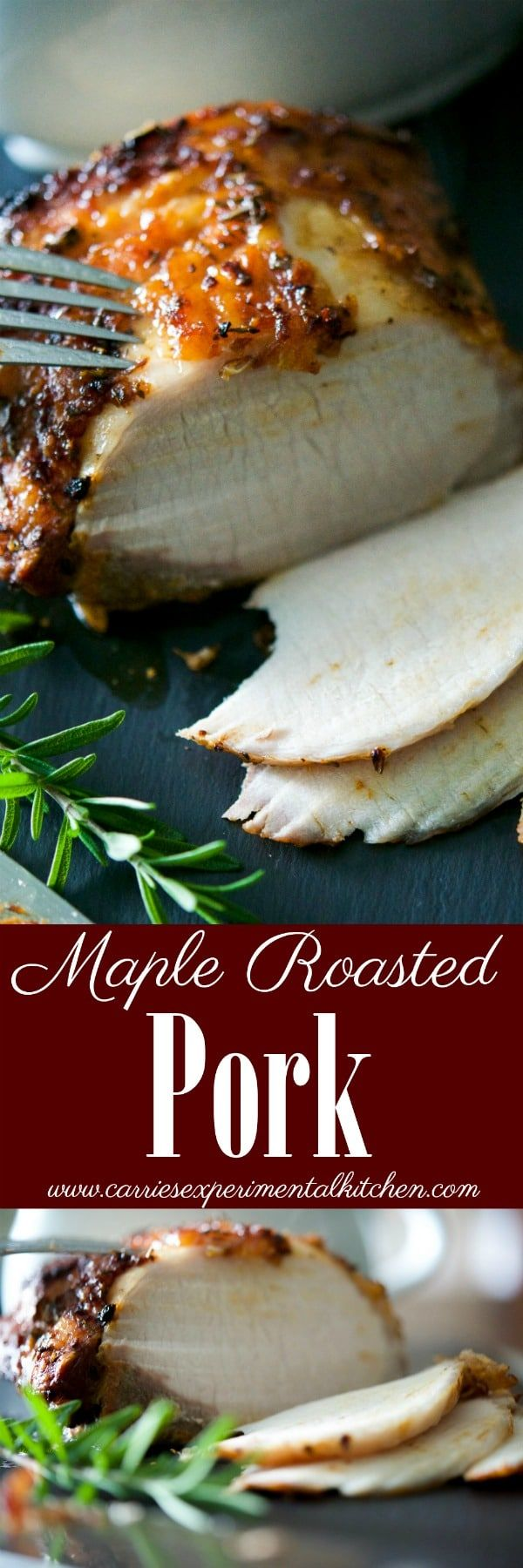 Pork loin basted with maple syrup, prepared horseradish, Dijon mustard, garlic and fresh rosemary is perfect for Sunday dinners or weeknight meals.