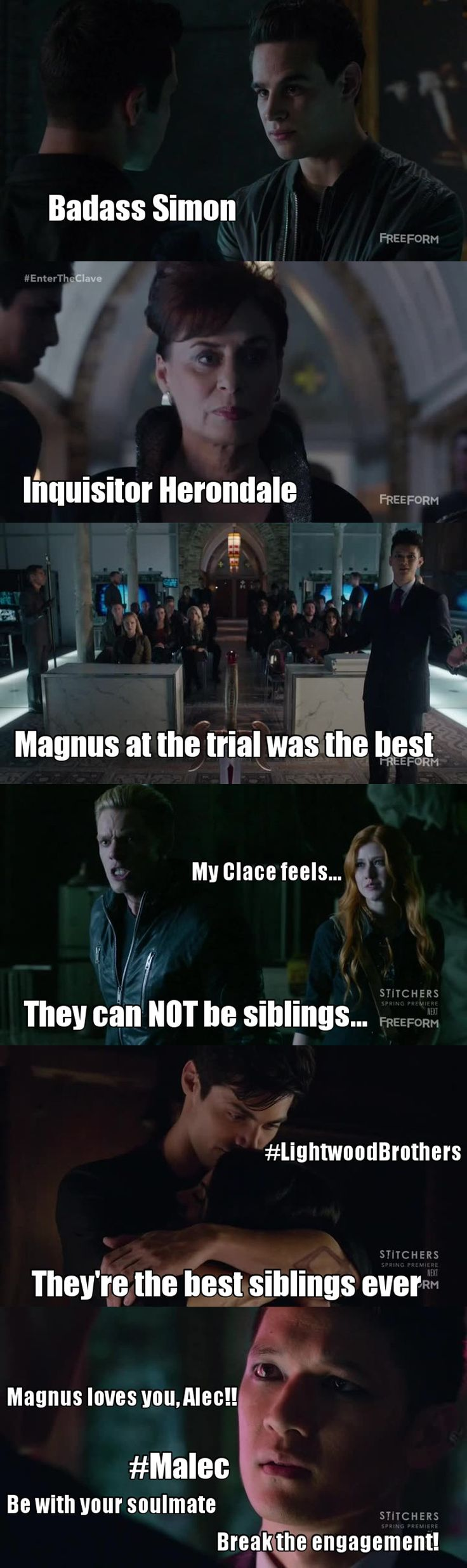 Shadowhunters S01E11 - Blood Calls To Blood - Best episode so far!! We had Renwick, we had Valentine revealing Jace is his son, as well as Clary! We had an excellent Magnus defending Isabelle from the terrible inquisitor Herondale ()...!!! Everything was perfect!!!! And Simon at the end of the episode when Luke tells him Clary and Jace are brother and sister... Ahahah so funny!!!! My felling almost exploded!!!