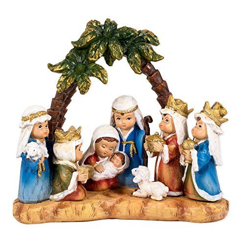 WoodWorks Pageant Nativity Figurine Features Children as The Main Characters 6-Inch