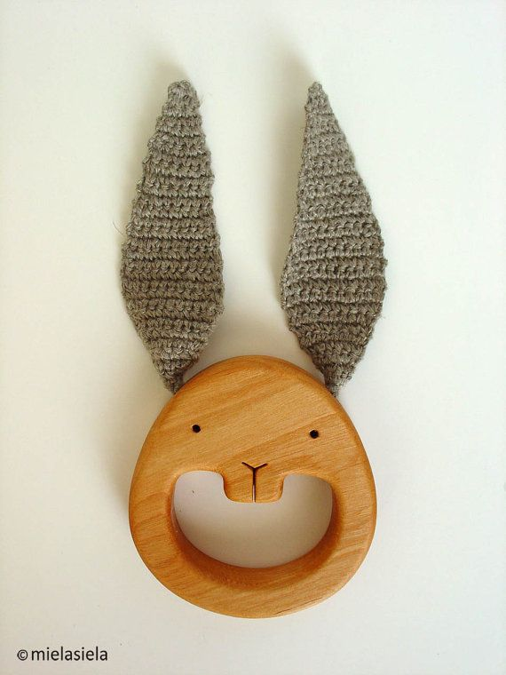 Teething Toy Wooden Teether EcoFriendly Baby Toy by mielasiela $19