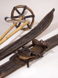 Antique ski equipment for wall