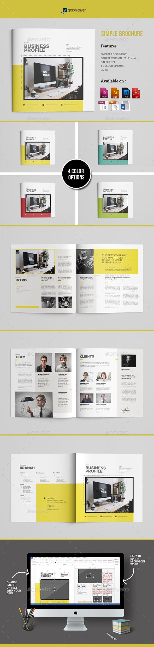 Simple Brochure Template PSD, Vector EPS, InDesign INDD, AI Illustrator