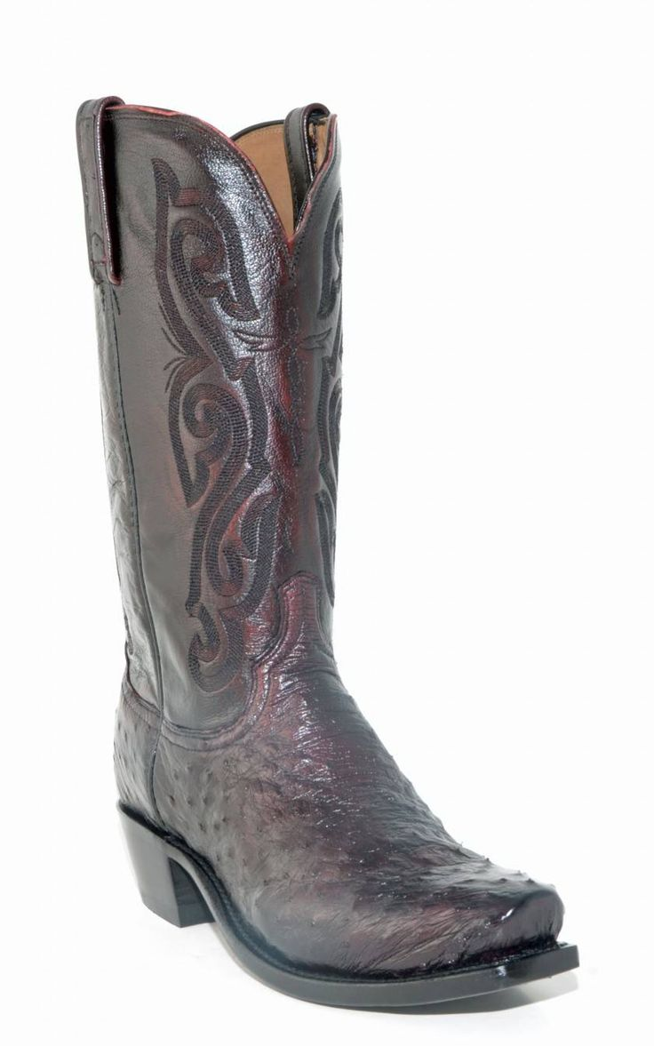 s lucchese black cherry ostrich neck boots a1002 7 4