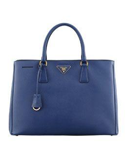 V1NC6 Prada Saffiano Gardener's Tote Bag, Bluette