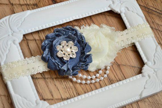 Denim and Ivory Shabby Flower от PrettyFillyBoutique на Etsy