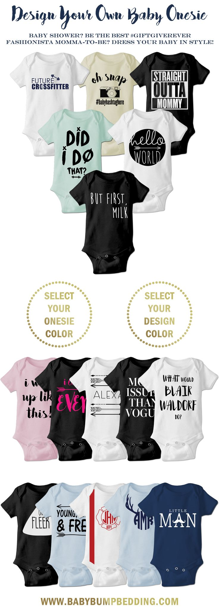 Are you a fashionista momma-to-be? Dress your baby in style with these adorable onesies. Looking for the perfect baby shower gift? These custom onesies make the best baby shower gift ever!! Customize a cute and trendy onesie by selecting your favorite vinyl color and onesie color.