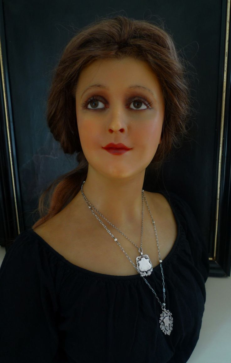 Antique Beautiful French Wax Bust Mannequin from P IMAN Paris