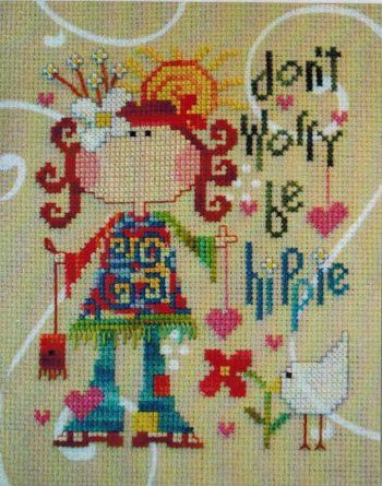 this is sooo me.... even has red hair lol...Be Hippie - Cross Stitch Pattern Sooo cute!!!!!