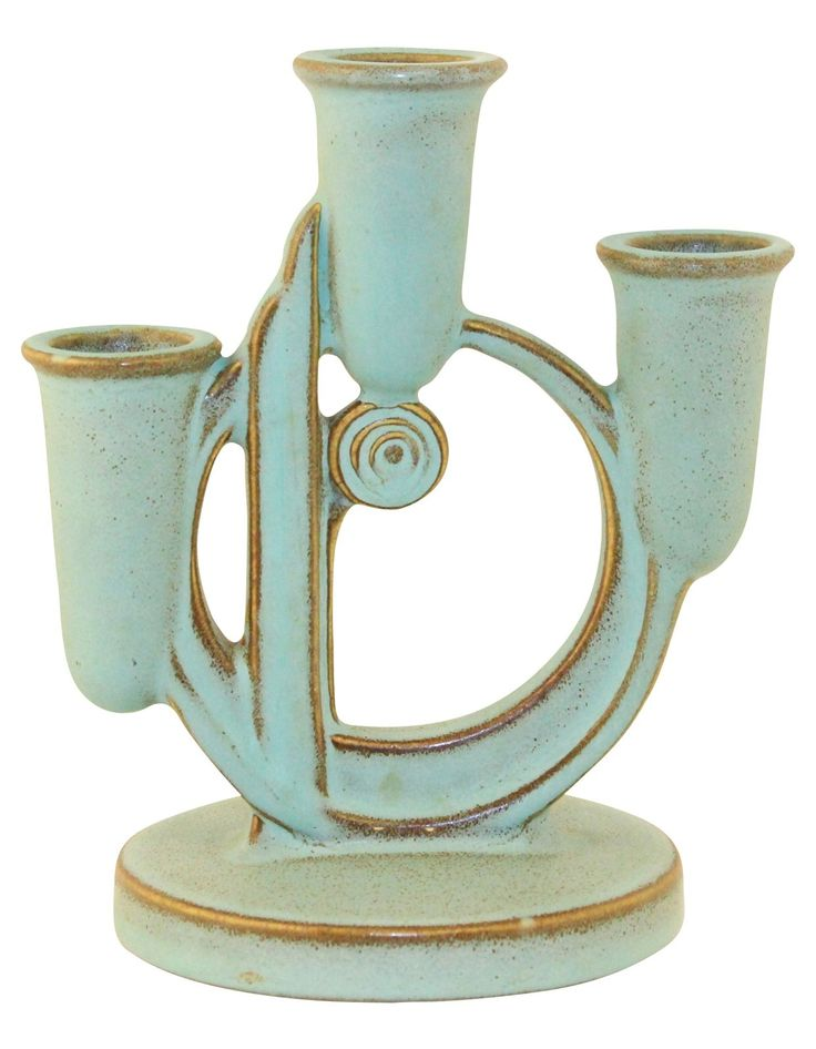 Roseville Pottery Moderne Green Triple Candle Holder 1112 - Just Art Pottery from Just Art Pottery