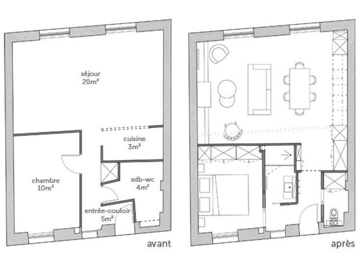 124 best Mon chez moi images on Pinterest Bedroom, Child room and - plan salon cuisine sejour salle manger