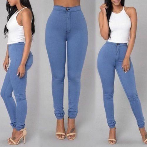 3d94e946 Lápiz Jeans Pantalones Vaquero Ajustado para Mujer elastizado Casual Cintura  Alta Pantalones Nuevo