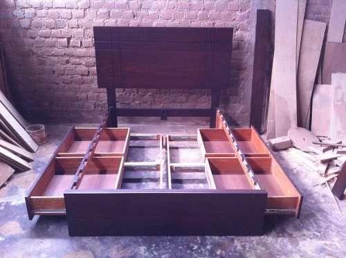 cama de 2 plazas con cajones laterales en madera tornillo