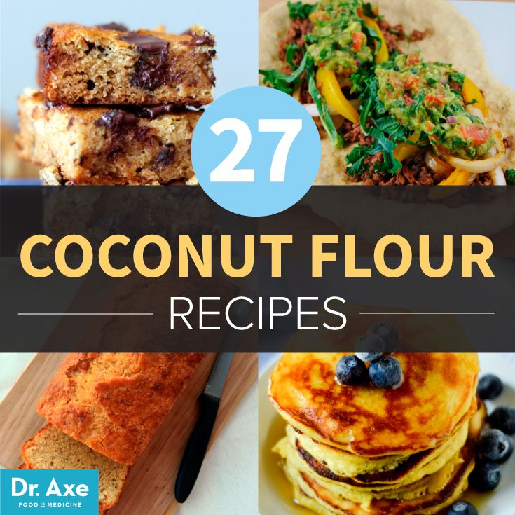 27 Coconut Flour Recipes - Dr. Axe - Coconut flour is super absorbent. Rule of thumb is to use about 1/4 to 1/3 a cup of coconut flour in place of grain-based flours. Because it's more dense than wheat flours, adding extra moisture is necessary. Doubling or tripling the eggs in your favorite recipes will up the moisture content and ensure baked goods remain moist and delicious.